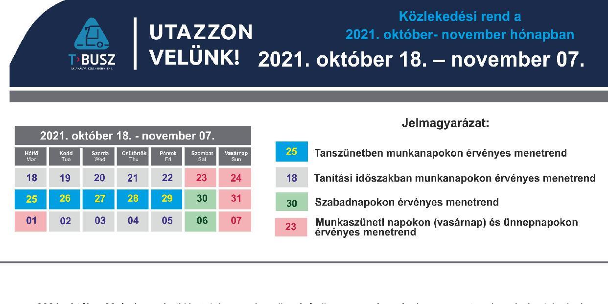 Ünnepnapok és őszi szünet - érdemes megnézni a közösségi közlekedés menetrendjét